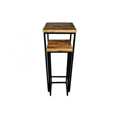 Houten side table / pilaren set  van 2