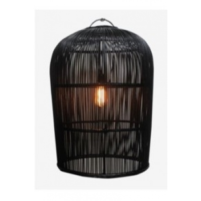 Hanglamp pitrit riet XL zwart A&D Collections