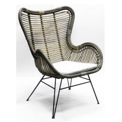Rieten loungestoel Luxe ( incl. wit kussen) A&D Collections