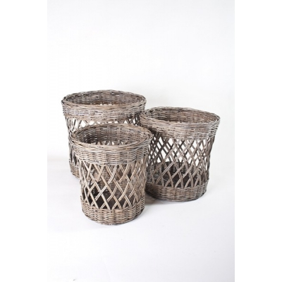 Open geweven rotan manden set van 3 A&D Collections