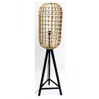 Staande rotan lamp met zwart houten onderstel