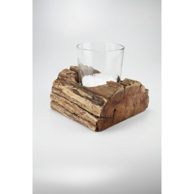 Windlicht hout incl glas A&D Collections